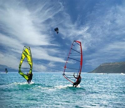Windsurfers in Mauritius