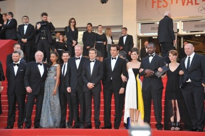 "Zoe Saldana and an array of artists including Marion Cotillard, Billy Crudup, James Caan, Noah Emmerich & director Guillaume Canet at the gala premiere of ""Blood Ties"" at the 66th Festival de Cannes."