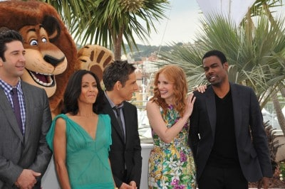 "David Schwimmer, Jada Pinkett Smith, Ben Stiller, Jessica Chastain & Chris Rock at the photocall for ""Madagascar 3: Europe's Most Wanted"""