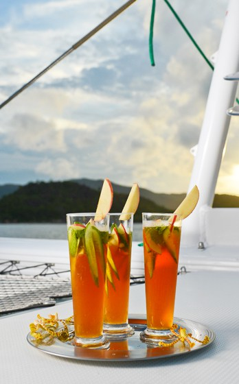 Cocktails on a yacht