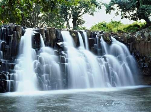Wide rock Rochester falls Mauritius island