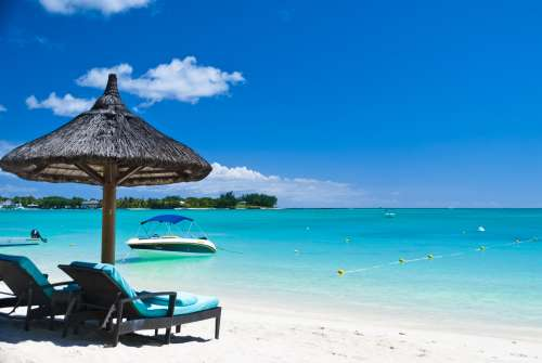 Beach on the exotic tropical island of Mauritius