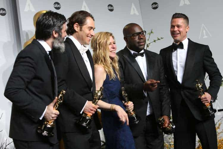 Best Picture Producers. From left to right: Anthony Katagas, Jeremy Kleiner, Dede Gardner, Steve McQueen & Brad Pitt. Photo: Helga Esteb