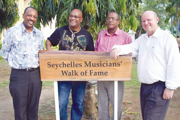 From left to right: Peter Sinon, Seychelles Minister for Natural Resources, Dédé Saint Prix,Martinican singer of traditional chouval bwa music, Michel Marie and Alain St. Ange, Seychelles Minister of Tourism and Culture