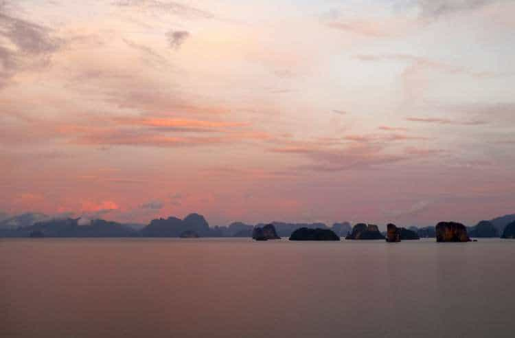 The light after sunset can be quite extraordinary (View East across the Andaman sea from Ko Yao Noi in Thailand)