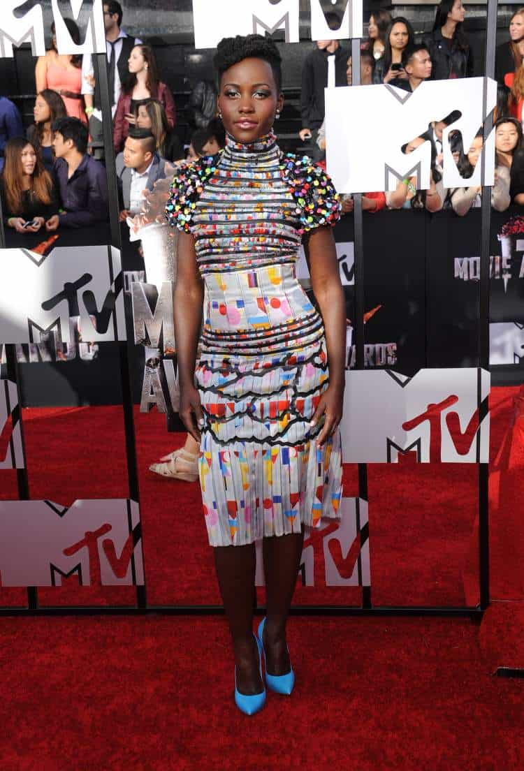 Lupita Nyong'o arrives at the 2014 MTV Movie Awards in Los Angeles, CA. Photo: DFree