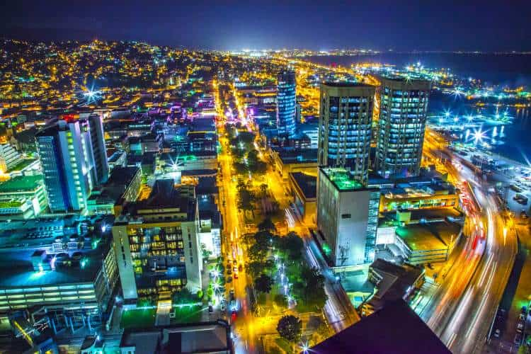 Breathtaking night view of Port of Spain, Trinidad.