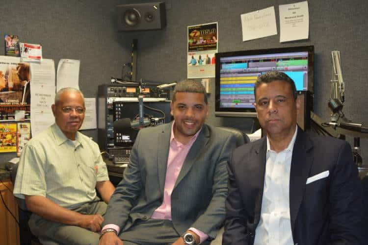 "Donald Cravins with his son Dustin (centre) and brother Charles (right) hosting ""The Cravins Brothers Zydeco & Info Show"", a radio program on KFXZ Z105.9FM (Carencro, LA, Sundays 9am-noon)"