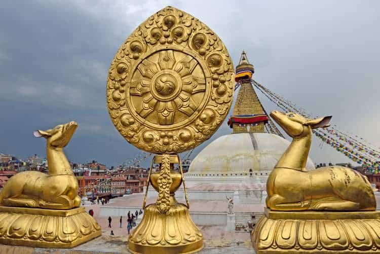Golden brahma symbol in front of Boudha Nath (Bodhnath) stupa in kathmandu