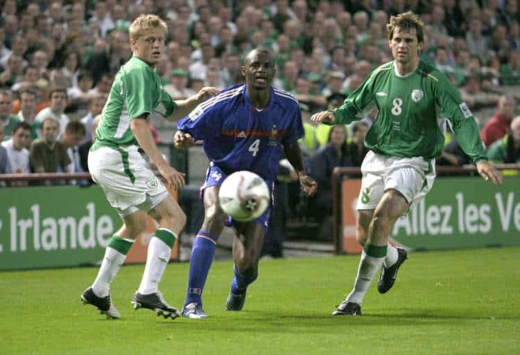 Damien Duff, Patrick Vieira and Kevin Kilbane. Island v France, World Cup qualifier. Photo: Eoghan McNally