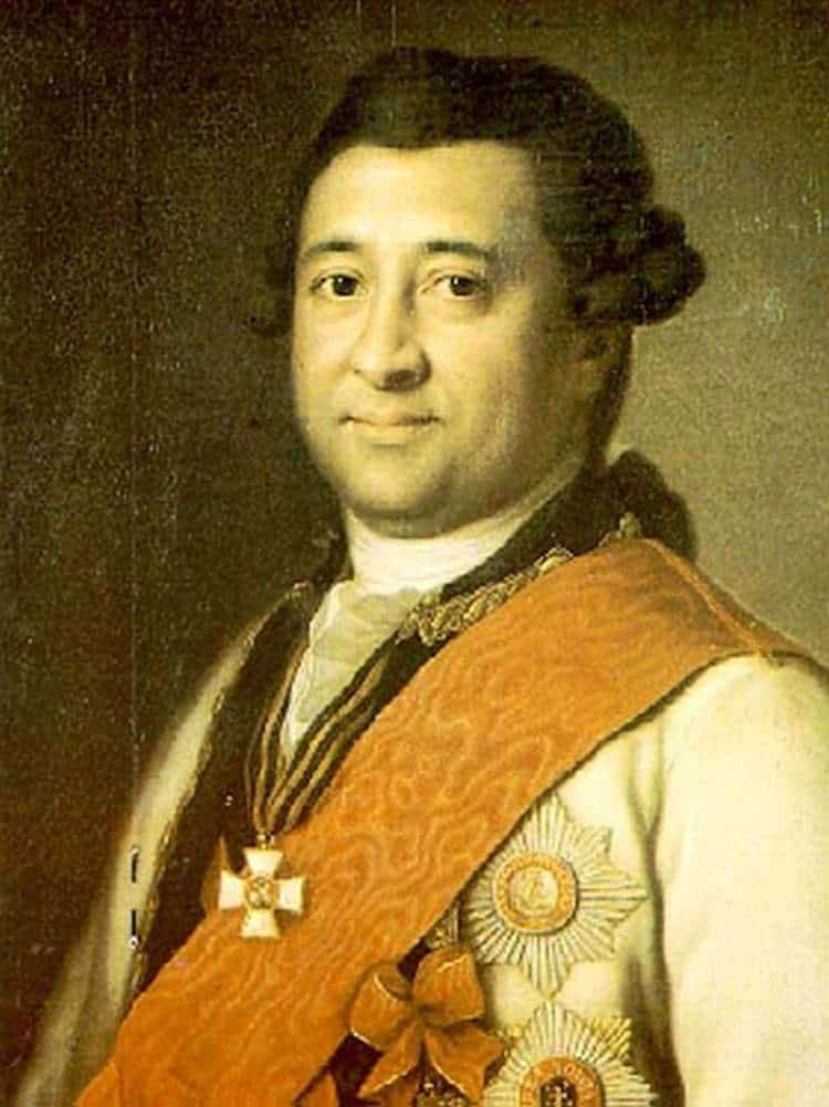 Portrait of Ivan Abramovich Gannibal (1735-1801), son of Abram Gannibal. Ivan, the eldest son, became an accomplished naval officer who helped found the city of Kherson in 1779 and attained the rank of General in Chief, the second highest military rank in Imperial Russia.