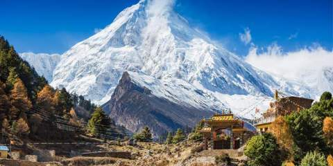 Himalayas mountain landscape. Mt. Manaslu in Himalayas, Nepal.