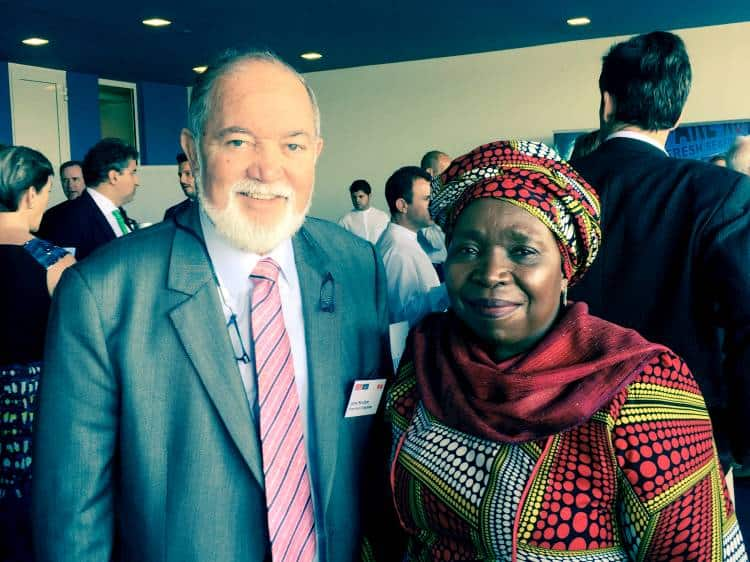 SIR JAMES mancham WITH CHAIRPERSON OF AFRICAN UNION - HE DR. NKOSAZANA DLAMINI ZUMA