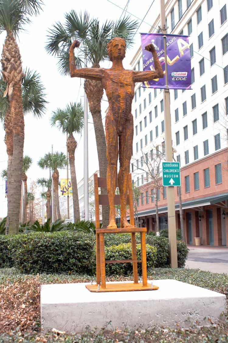 Man Conquers Chair, 9 ft carved steel, Poydras & Convention Blvd, New Orleans, USA