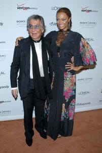 Roberto Cavalli and Tyra Banks at the Clive Davis Pre-Grammy Awards Party. Beverly Hilton Hotel, Beverly Hills