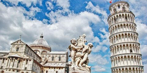 Pisa, place of miracles the leaning tower and the cathedral baptistery, Italy