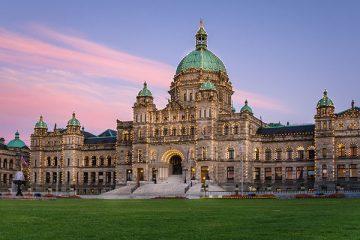 British Columbia Provincial Parliament in Victoria at Sunset