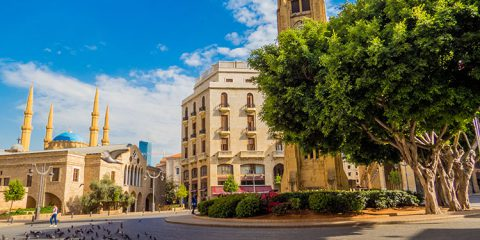 View of Beirut Central District (or Centre Ville), with the landmark Mohammad Al-Amin Mosque in the background.