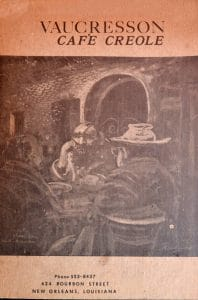 Cover of the Original menu of Vaucresson Café Creole