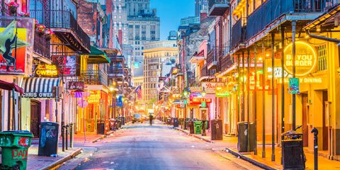 Bourbon Street in the early morning. The renown nightlife destination is in the heart of the French Quarter.