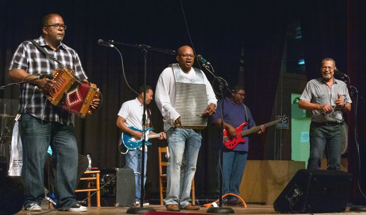 "Tribute to Alphonse ""Bois Sec"" Ardoin, Liberty Theater, May 16, 2015: Sean Ardoin, Harold Guillory, Russell Ardoin, and, in back, Trey ""Neeko"" Ardoin, Chris Ardoin. Photo: David Simpson/cajunzydecophotos"