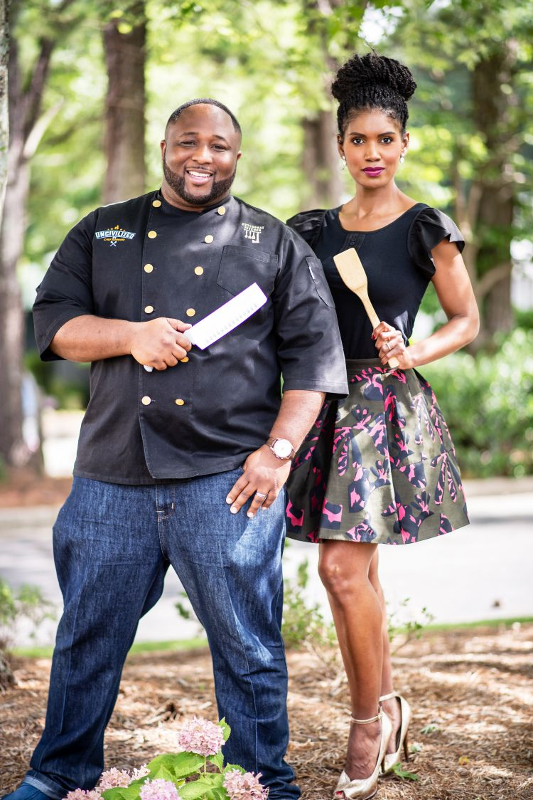 Denise boutte with chef Jernard Wells, FoodNetwork Star and 2X Cutthroat Kitchen Winner