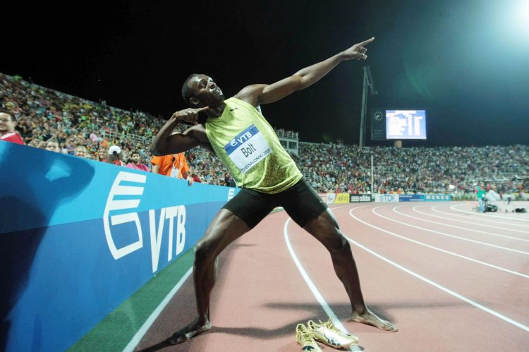 "USAIN BOLT's signature celebratory pose ""To Di World"" Photo: Ververidis Vasilis"