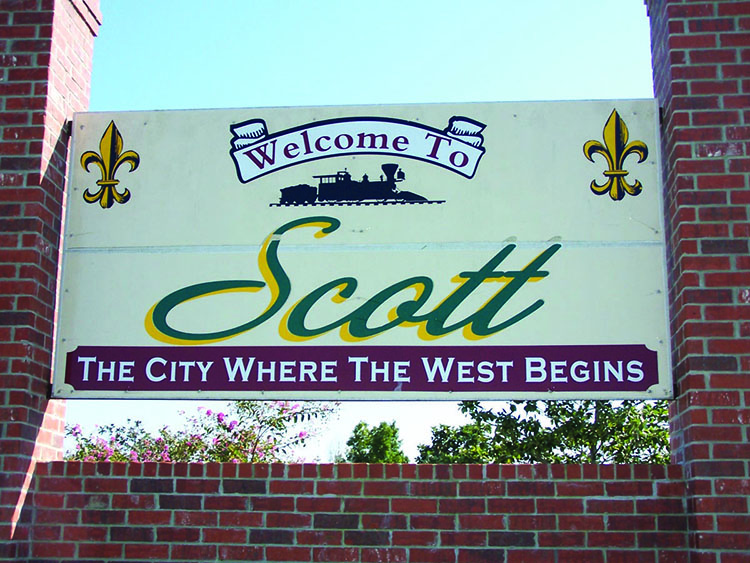 The welcoming sign and gateway to City of Scott, Louisiana.