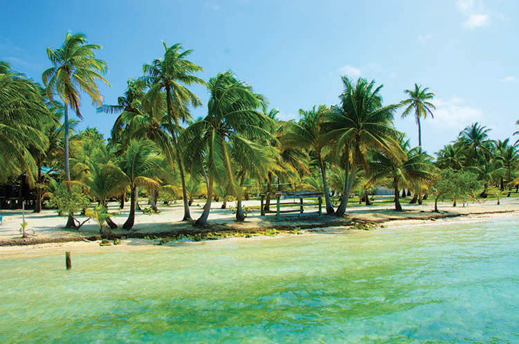Paradise Beach on beautiful island South Water Caye, Belize