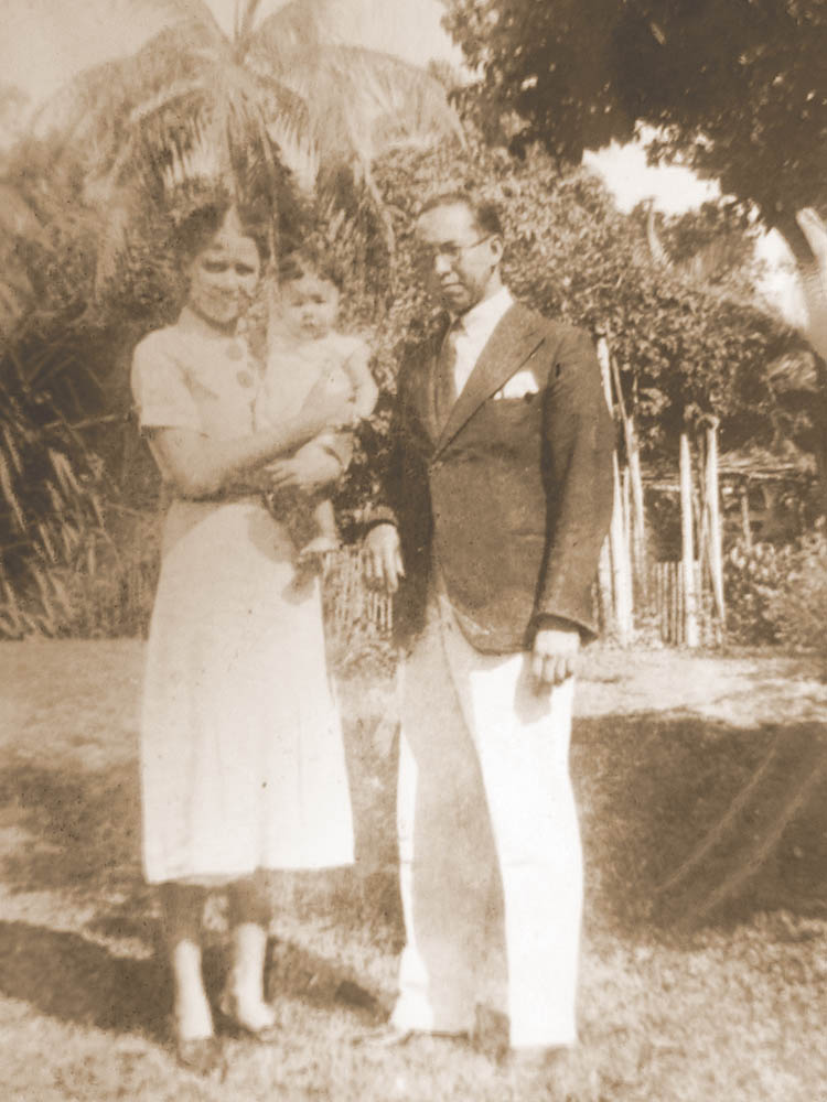 Constance and her husband Leonard with their first child