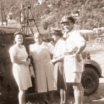 Group in St. Lucia 1946 with Mrs Perryman (middle of the three ladies), Daphne Roett, Ellice Honychurch