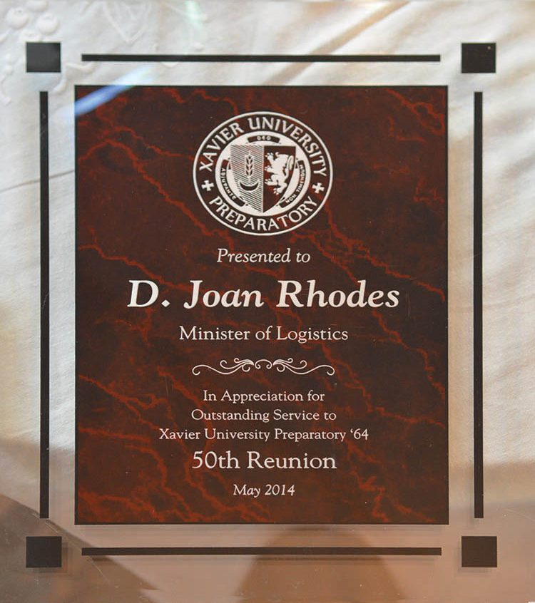 Award from Xavier University to Joan Rhodes