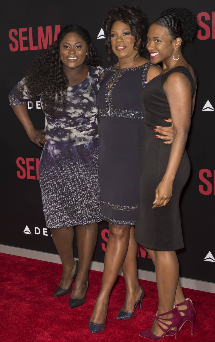 "Actresses Danielle Brooks (left), Lorraine Toussaint (centre) and guest attend the ""Selma"""