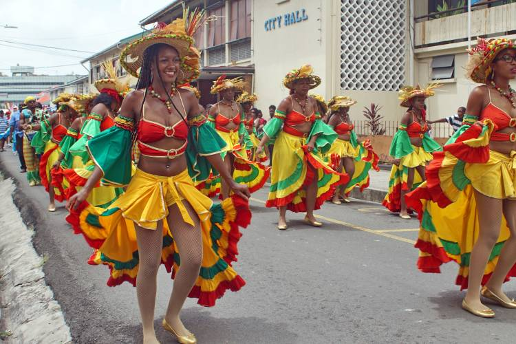 Costumed dancers in the carnival parade, Castries, St Lucia. Photo: Angela N Perryman