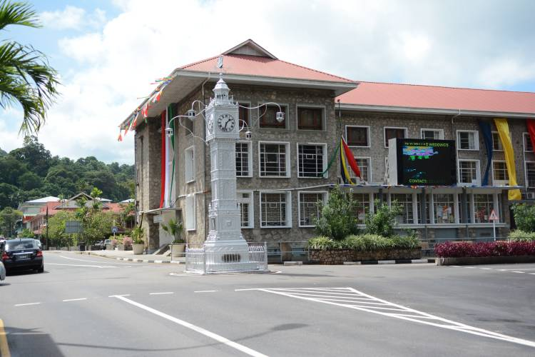 The Victoria Clock Tower at the intersection of Francis Rachel Street and Independence Ave, providing a well-known and much-loved landmark in the city. Victoria, Mahé, Seychelles