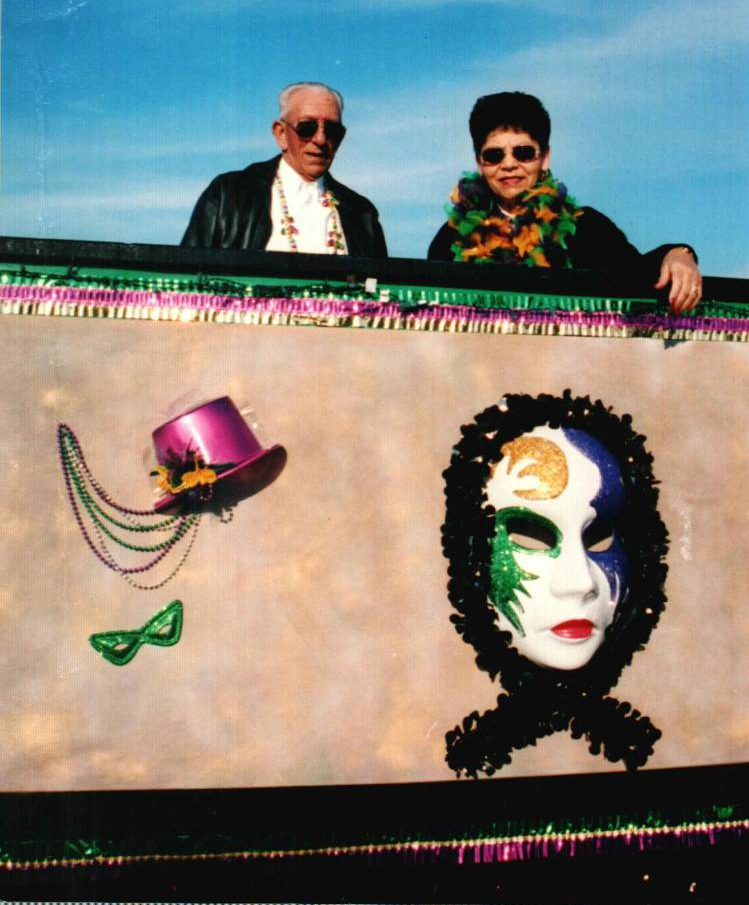 "Felix exemplified the ""laissez les bon temps rouler"" mentality of Louisiana Mardi Gras. Here he is seen with his wife Cecile, riding a float in the Natchitoches, LA Mardi Gras parade"