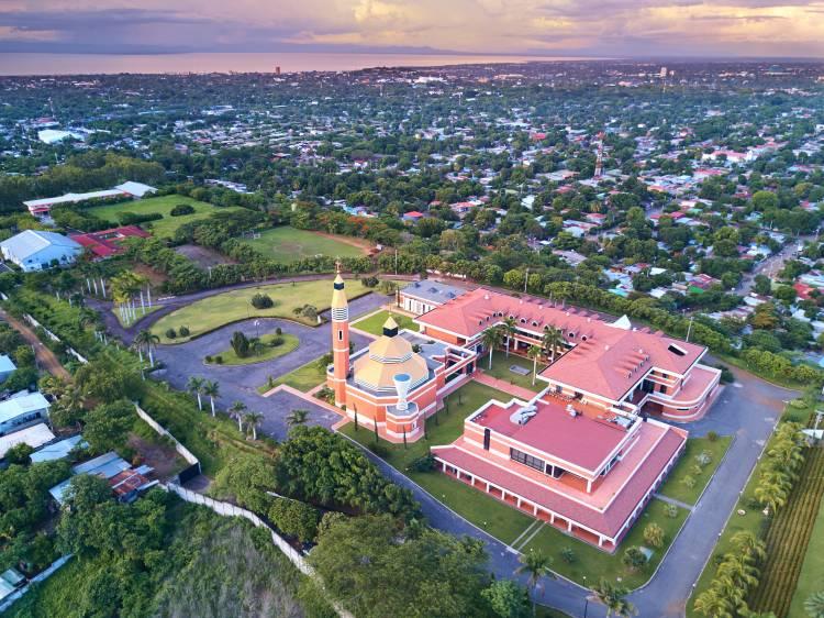ityscape of Managua city in Nicaragua at dusk time aerial view