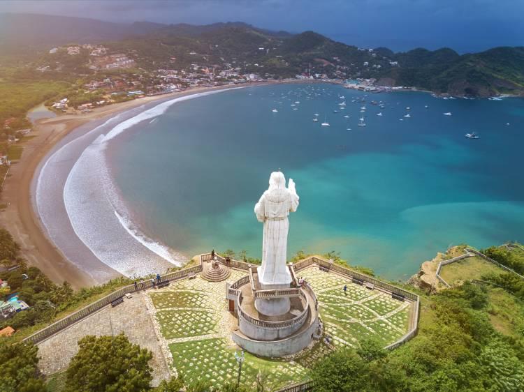 jesus christ statue in Nicaragua. Above view on San juan del sur