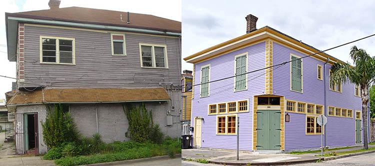 Before and after restoration of Naydja's She shed
